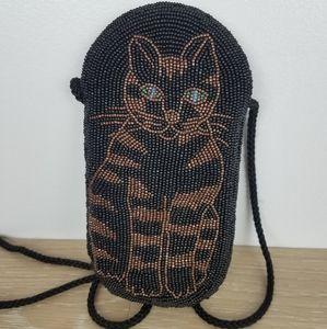 Vintage | Handmade Beaded Cat Purse Black Crossbdy